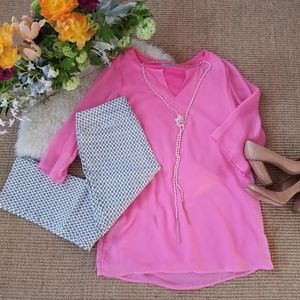 🌺SUMMERY🌺Pink Karlie tunic blouse top